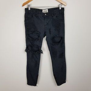 One Teaspoon Jeans Size 26 Trashed Free Birds Low Rise 7/8 Length Distressed